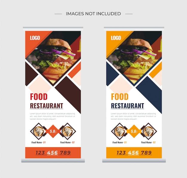 Restaurante de comida roll up stand banner template