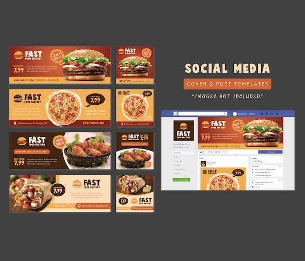 Restaurante comida social media cover & post template