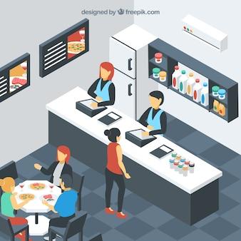 Restaurante de self-service isométrico con clientes