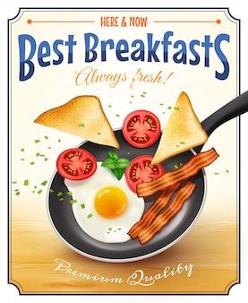 Restaurante desayuno anuncio cartel retro