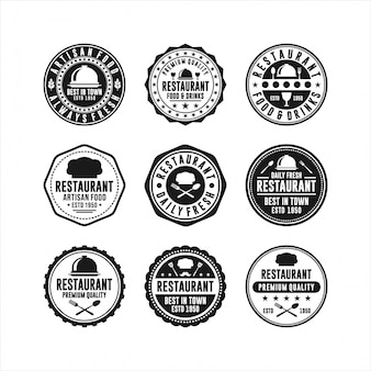 Restaurante diseño vector insignia conjunto de sellos