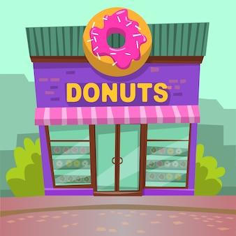 Restaurante de donut en la ciudad, bakery cafe vector