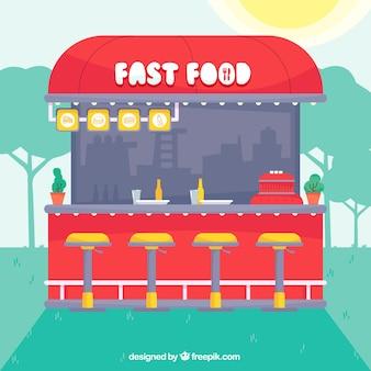 Restaurante fast food en el exterior