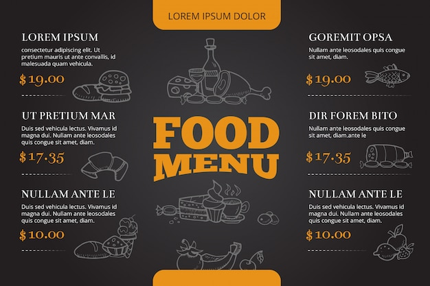 Restaurante folleto menú vector diseño