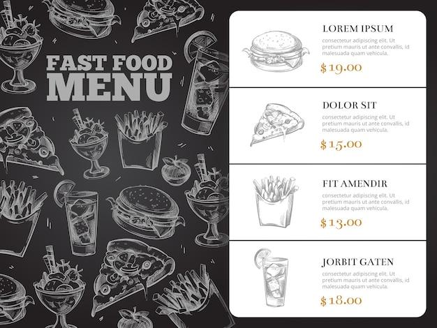 Restaurante folleto vector menú diseño con comida rápida dibujado a mano. hamburguesa almuerzo y desayuno, sandwi.