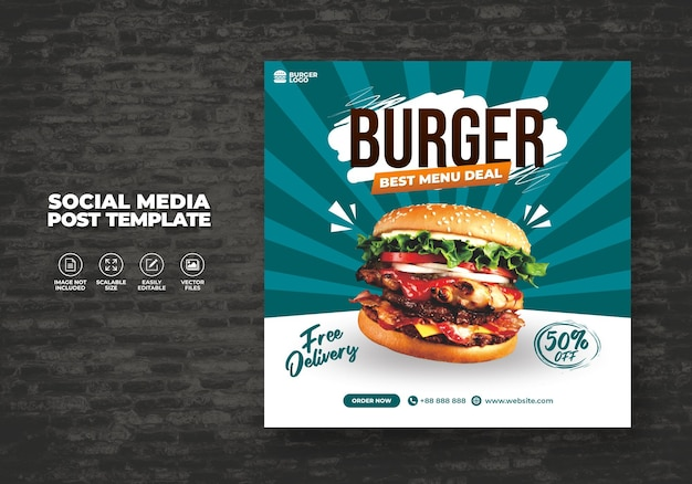 Restaurante de hamburguesa de comida para menú de redes sociales plantilla de promoción especial gratis