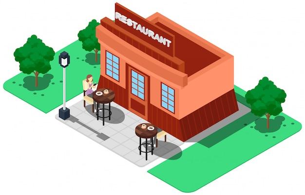 Restaurante isométrico con compradores.