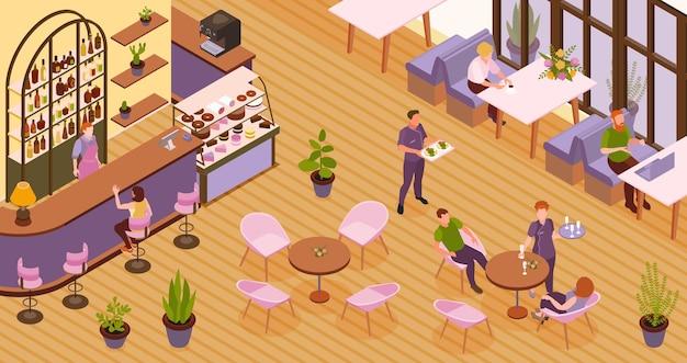 Restaurante isométrico con gente almorzando o viniendo a tomar una taza de café.