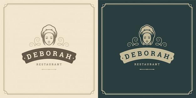 Restaurante logo plantilla ilustración mujer chef cabeza en tapa símbolo y decoración buena para menú y signo de café.