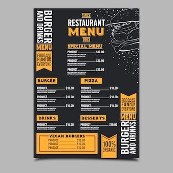 Restaurante de menú de barbacoa