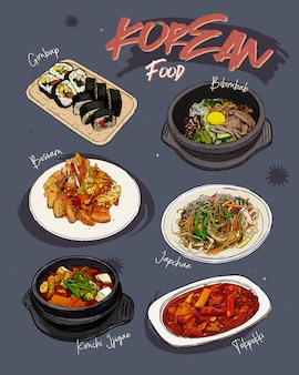 Restaurante de menú de comida coreana. menú de dibujo de comida coreana.
