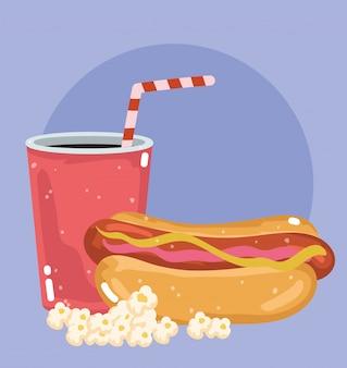 Restaurante de menú de comida rápida poco saludable refresco de hot dog y pop corn ilustración