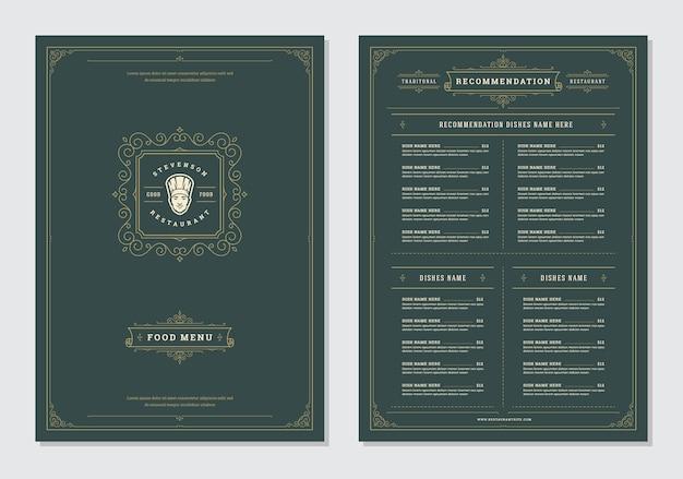 Restaurante menú diseño y etiqueta vector plantilla de folleto.
