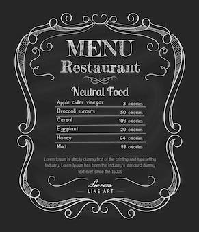 Restaurante menú pizarra vintage mano dibujado marco etiqueta vector