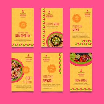Restaurante mexicano colección de historias de instagram