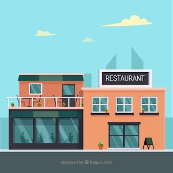 Restaurante moderno con diseño plano