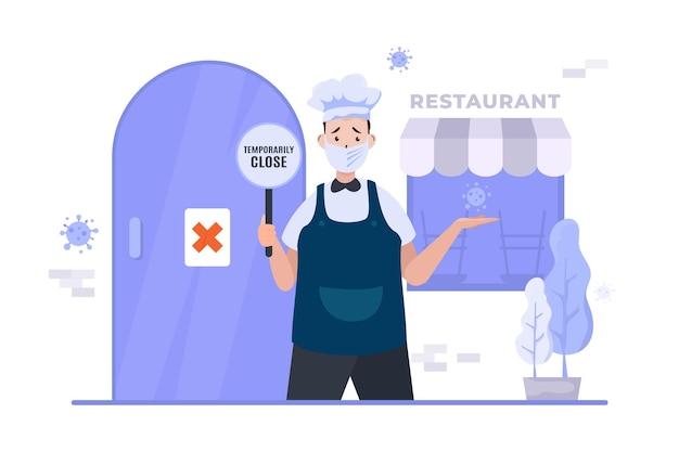 El restaurante de negocios está cerrado durante la ilustración de la pandemia.