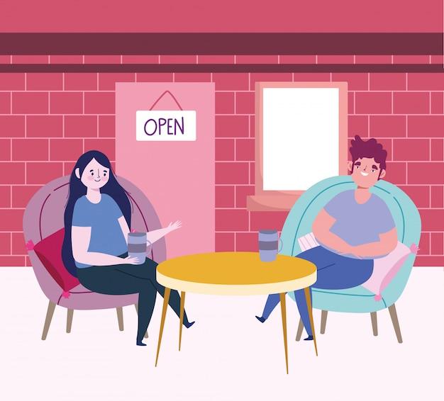Restaurante o cafetería de distanciamiento social, mujer y hombre sentados con una copa de vino y café.