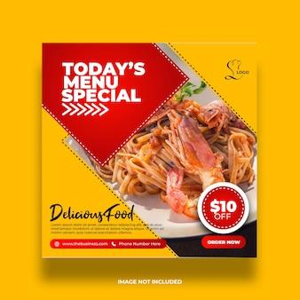 Restaurante oferta deliciosa menú comida especial redes sociales publicar plantilla premium abstracta