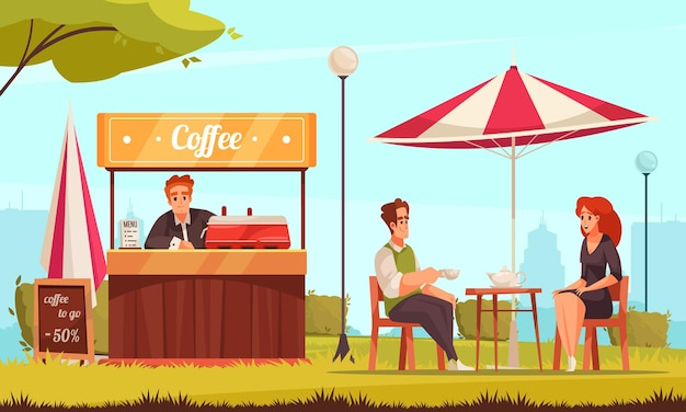 Restaurante patio street cafe servicio de mostrador de café composición de dibujos animados con pareja