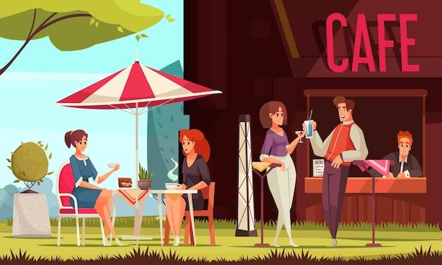Restaurante, patio, zona exterior, cafetería de la calle, mostrador de servicio, visitantes charlando disfrutando de bebidas