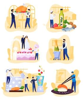 Restaurante personas cocinando y catering, personajes de dibujos animados ilustración
