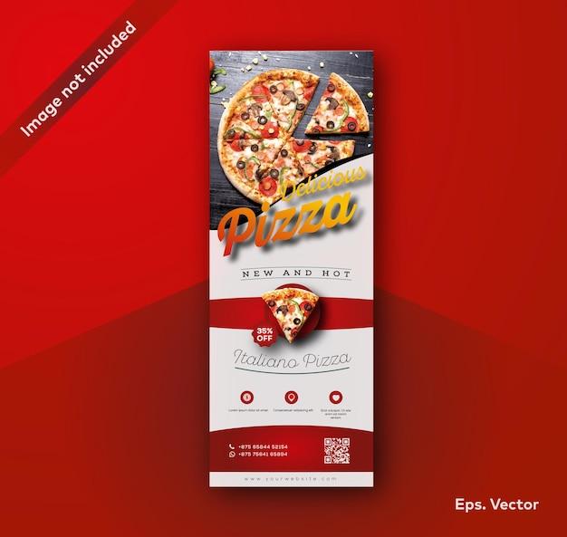 Restaurante de pizza enrollar la plantilla de diseño de banner