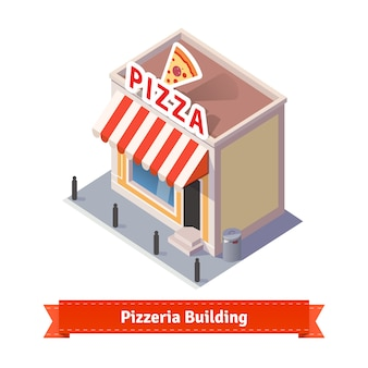 Restaurante de pizza y tienda de la construcción