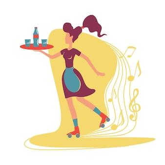 Restaurante retro que sirve banner web, póster. camarera de rodillo fresco pasado de moda que sostiene caracteres disponibles de la bandeja en fondo de la historieta. parches imprimibles, elementos web coloridos