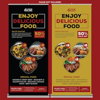 Restaurante roll up banner print template en estilo de diseño plano