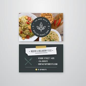 Restaurante tarjeta de visita de doble cara.