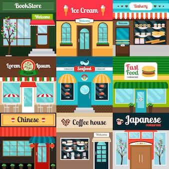 Restaurantes con diferentes tipos de comida de fachada.