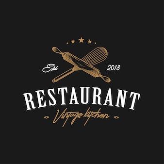 Restaurat vintage logo de cocina