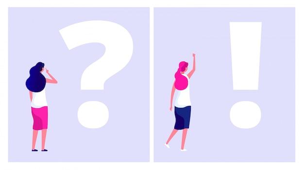 Resuelve el concepto del problema. mujer estudiante con problemas pensando con el dilema del signo de interrogación entender la solución problemas de negocios duda