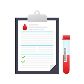 Resultado del análisis de sangre en estilo plano. investigación de laboratorio químico.