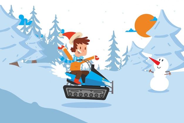 Resultado seguido niño feliz descender en la ilustración de la ladera de montaña nevada. el personaje de niño en ropa de abrigo pasa su tiempo libre