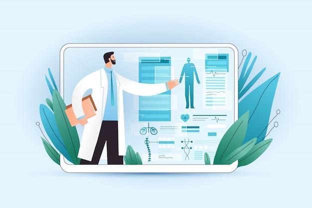Resultados médicos de detección de cuerpo completo en tabletas y dispositivos de salud con un médico profesional que lo explica. examen médico profesional para pacientes que usan aplicaciones médicas en una tableta digital, concepto
