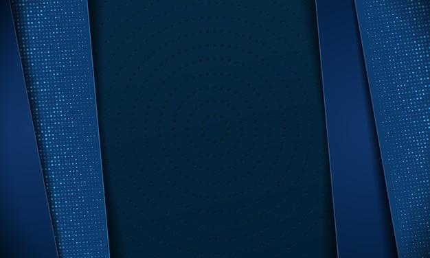 Resumen 3d blue tech de lujo con puntos de semitono sobre fondo oscuro