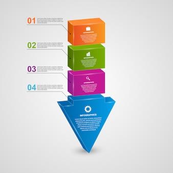 Resumen 3d flecha infografía.