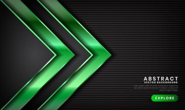 Resumen 3d fondo de lujo negro y verde con efecto de luz