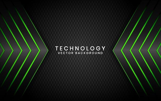 Resumen 3d fondo negro tecnología superposición de capas en el espacio oscuro con decoración de efecto de luz verde
