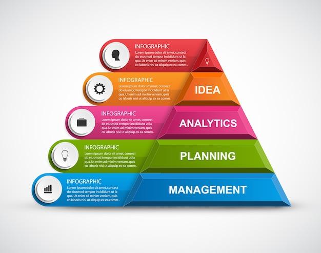 Resumen 3d pirámide opciones infografía.