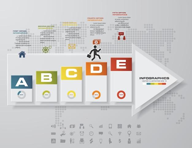 Resumen 5 pasos línea de tiempo flecha elemento infográfico.