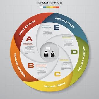 Resumen 5 pasos modernos elementos de gráfico circular infografía