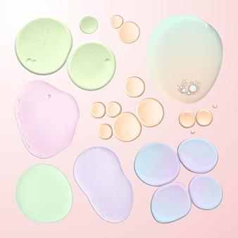 Resumen de aceite líquido burbuja macro disparo conjunto de vectores en colores pastel