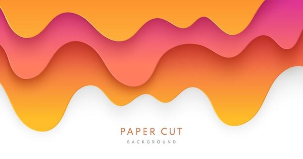 Resumen amarillo naranja y papel rosa dulce cortó capas de formas onduladas sobre fondo blanco.