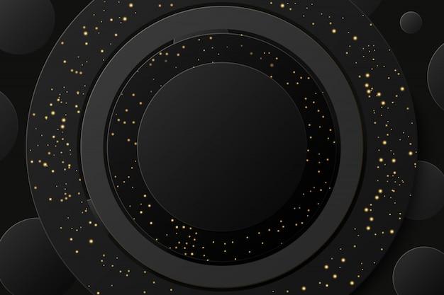 Resumen anillo brillante dorado negro con fondo dorado brillo.