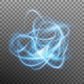 Resumen anillo brillante sobre fondo transparente. efecto de luz círculo azul. y también incluye