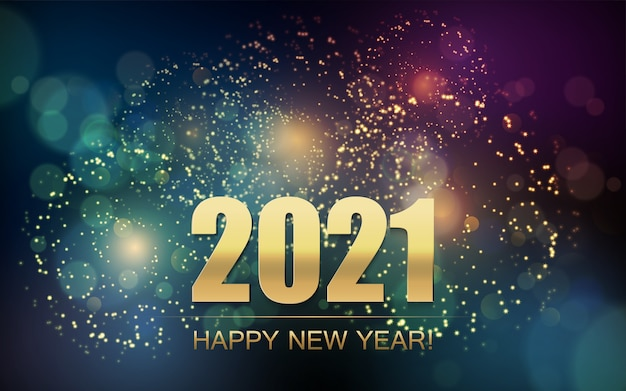 Resumen de año nuevo con fuegos artificiales