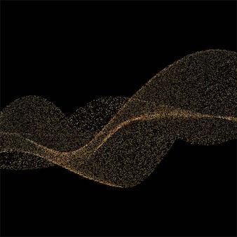 Resumen de antecedentes con brillos dorados elegante onda sobre fondo negro
